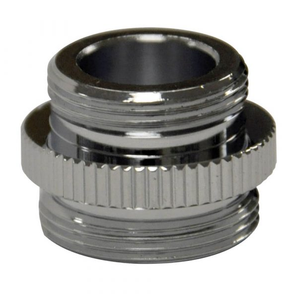 3/8 in.-18 IPSM x 55/64 in.-27M Small Snap Coupling Dishwasher Aerator Adapter in Chrome
