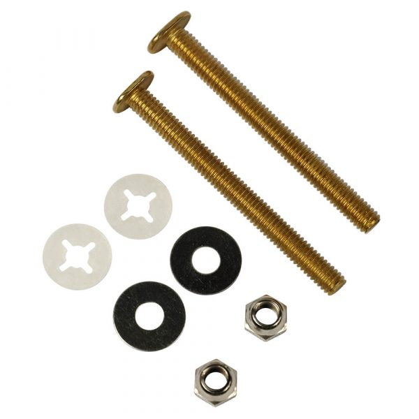 5/16 in. x 3-1/2 in. Brass Closet Bolts with Nuts and Washers (2-Pack)