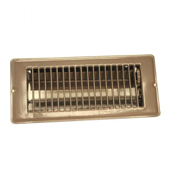 4 in. x 10 in. Steel Floor Register with 1-5/16 in. Drop in Brown