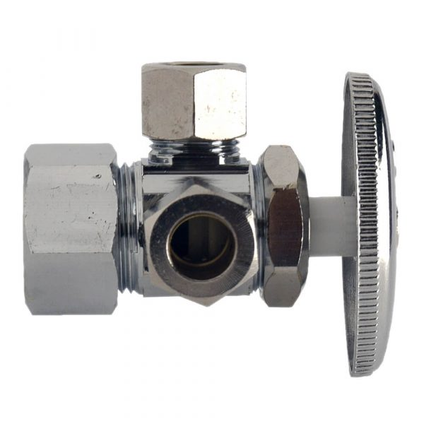 5/8 in. Comp. x 3/8 in. Comp. x 3/8 in. Comp. Dual Outlet Shut-Off Valve