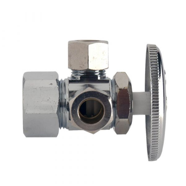 1/2 IPS x 3/8 in . Comp x 3/8 in. Comp. Dual Outlet Shut-Off Valve