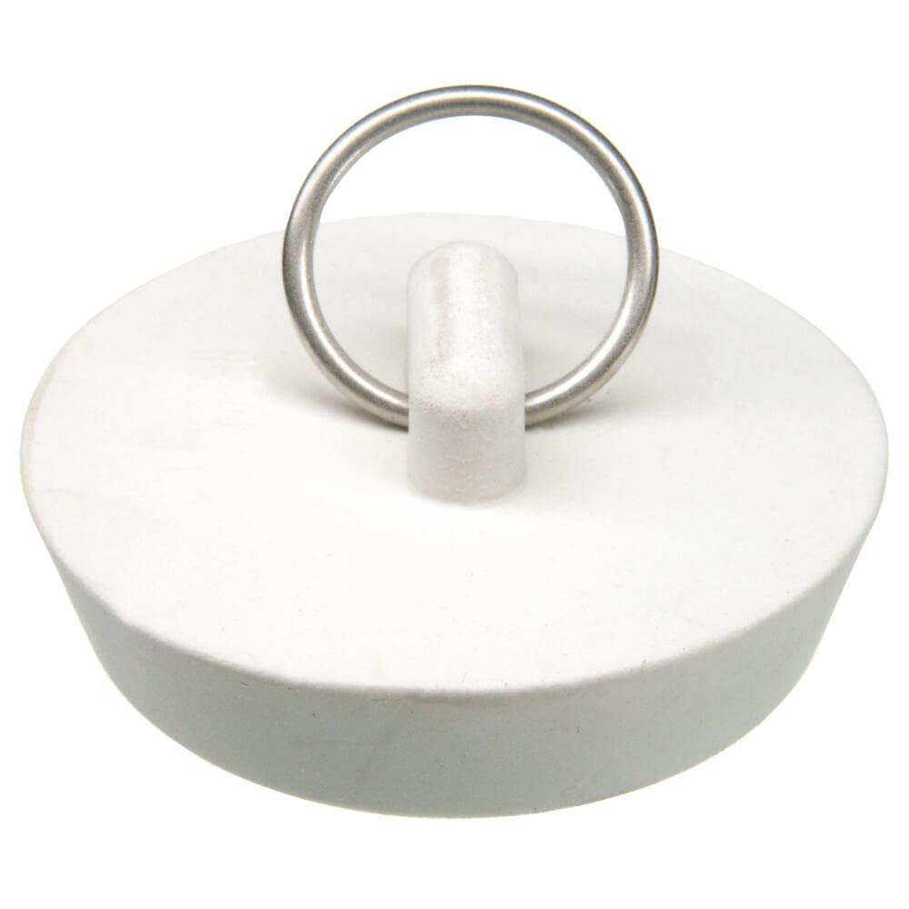 Sink Stopper : in. Rubber Drain Stopper in White (1 per Card) - Danco