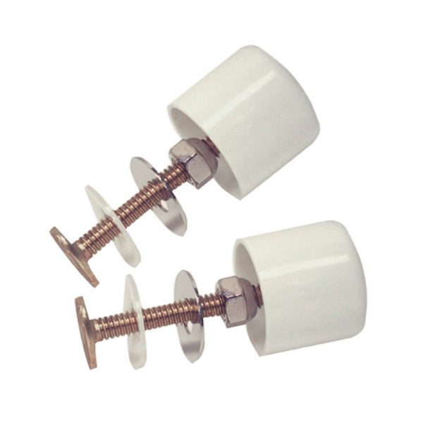 Plastic Toilet Bolt Caps in White with Bolts (2-Pack)