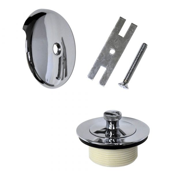Universal Lift and Turn Tub Drain Trim Kit with Overflow in Chrome