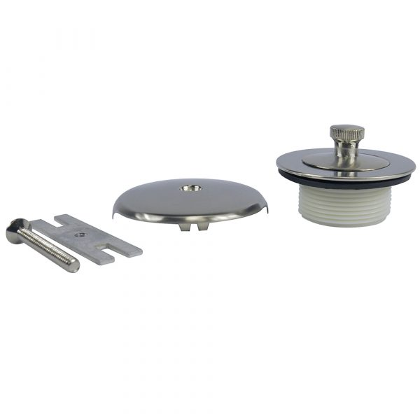 Universal Lift and Turn Tub Drain Trim Kit with Overflow in Brushed Nickel