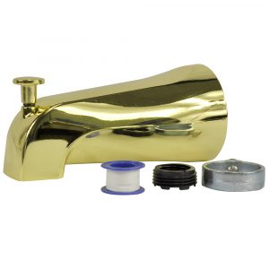Diverter Tub Spout in Polished Brass