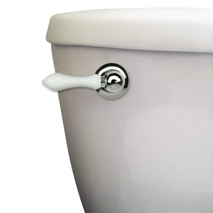 Decorative Toilet Handle in Chrome with White Handle