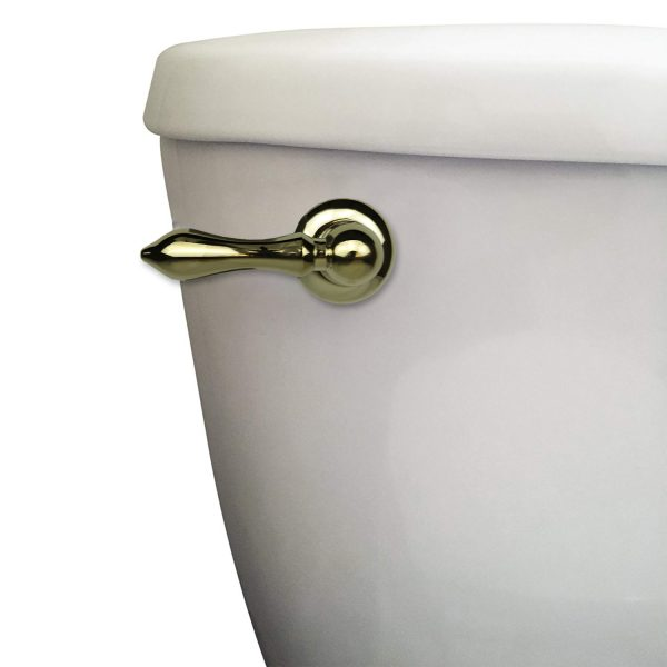 Universal Decorative Toilet Handle in Polished Brass