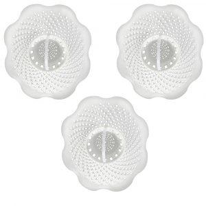 Hair Catcher Bathroom Tub Strainer in White (3-Pack)